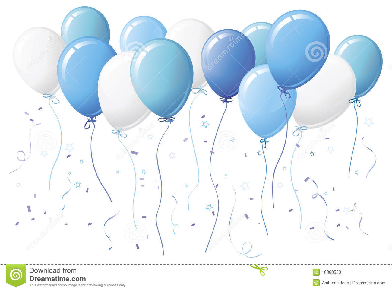 blue balloons with confetti stock vector illustration of confetti