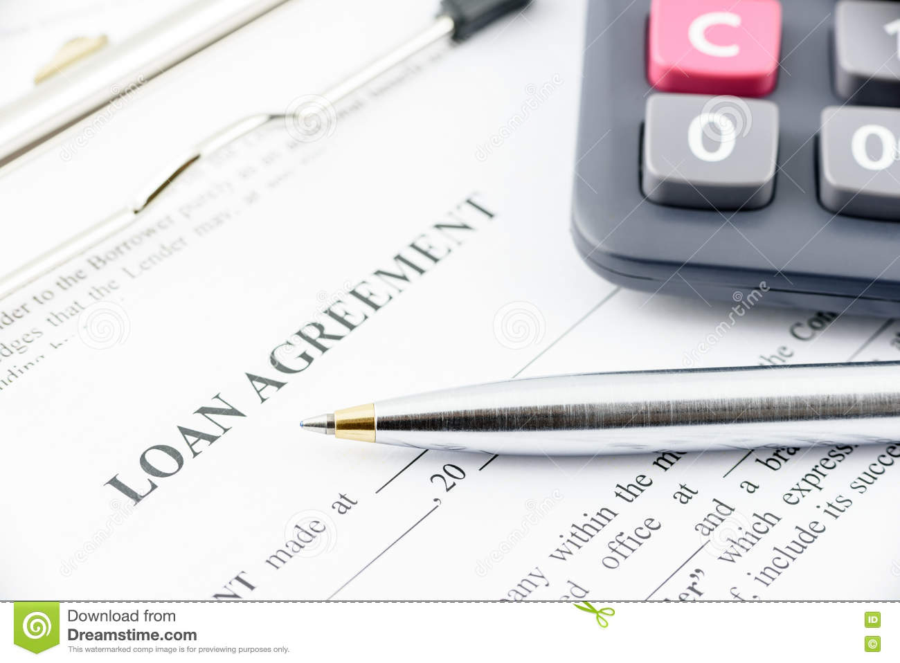 Download Blue Ballpoint Pen And A Calculator On A Loan Agreement. Stock Image - Image of house, blue: 75863443