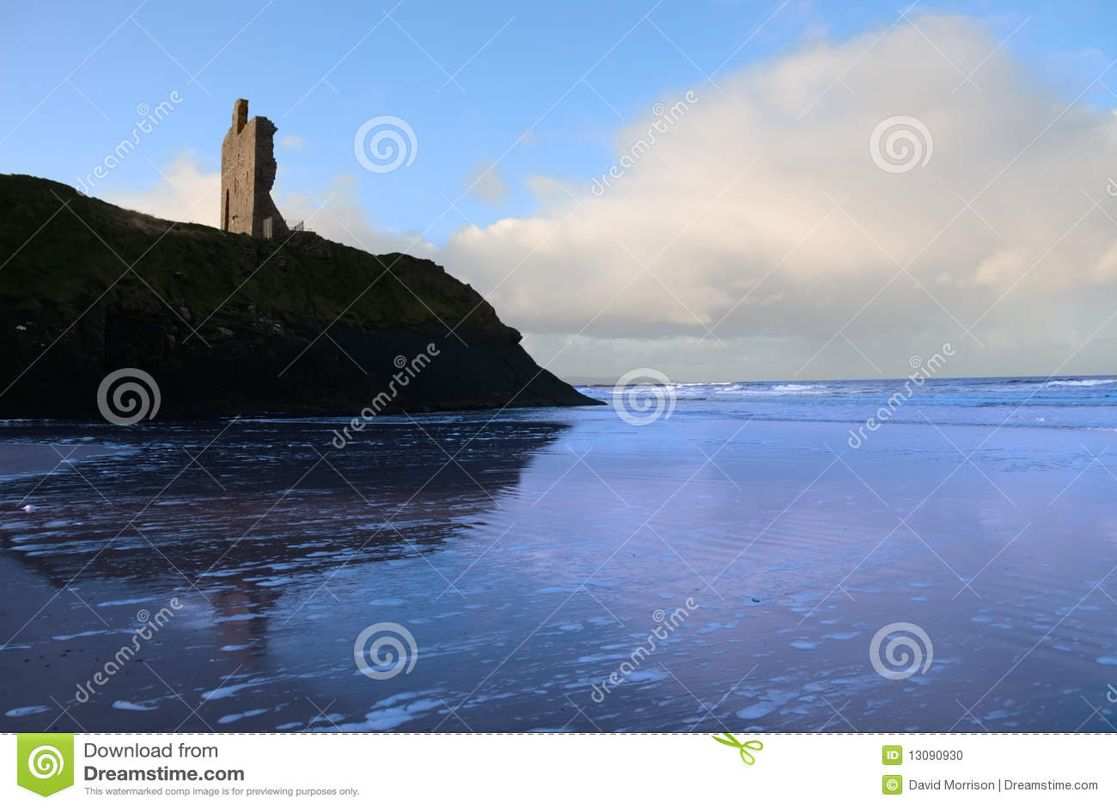 Download Blue Ballybunion Beach Castle And Sea Stock Photo - Image of ballybunion, headland: 13090930