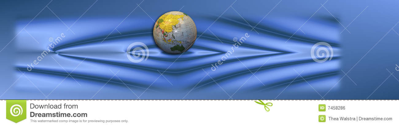 Blue Banner With Globe