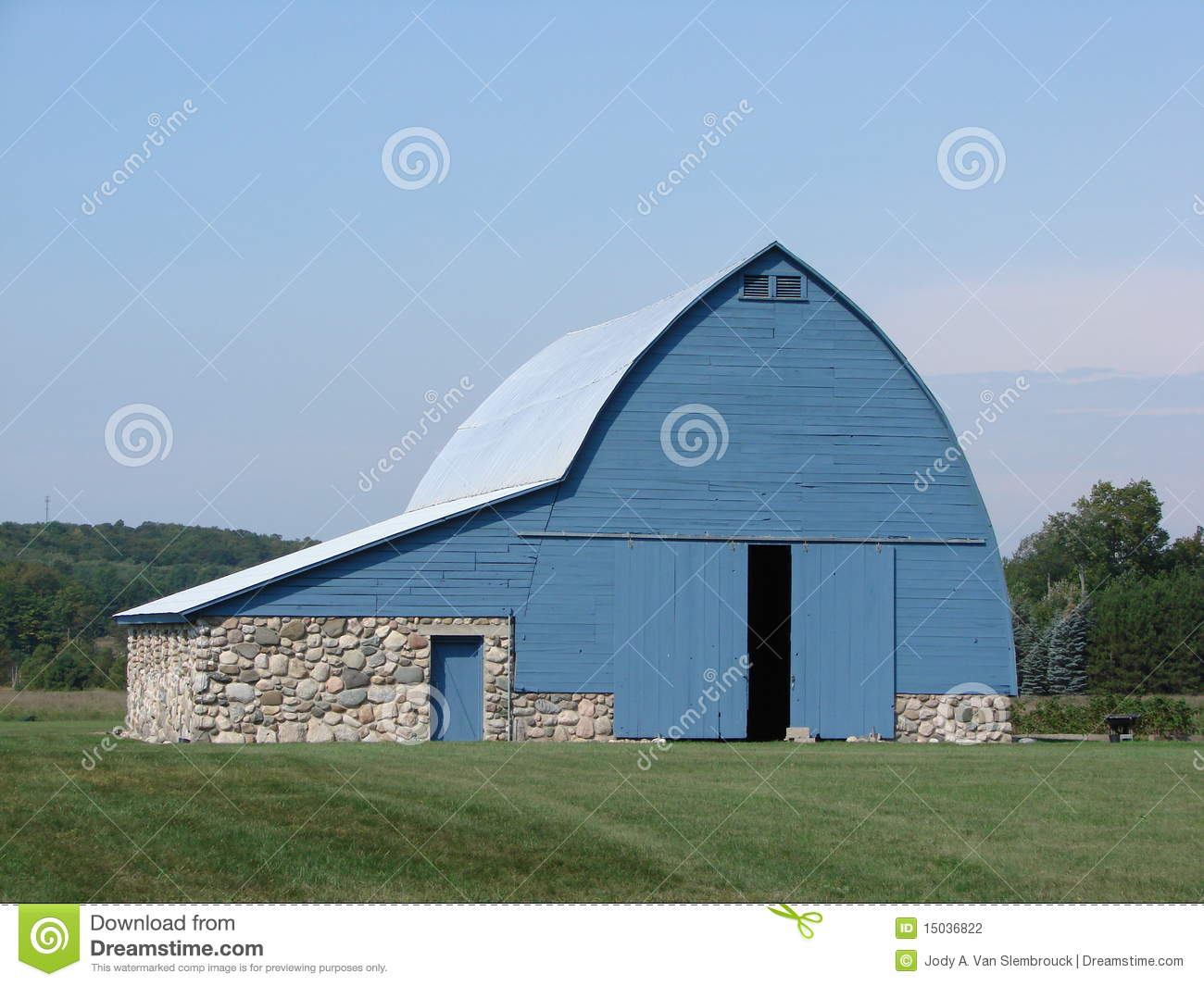 Blue Barn With Stone Foundation Stock Photography Image
