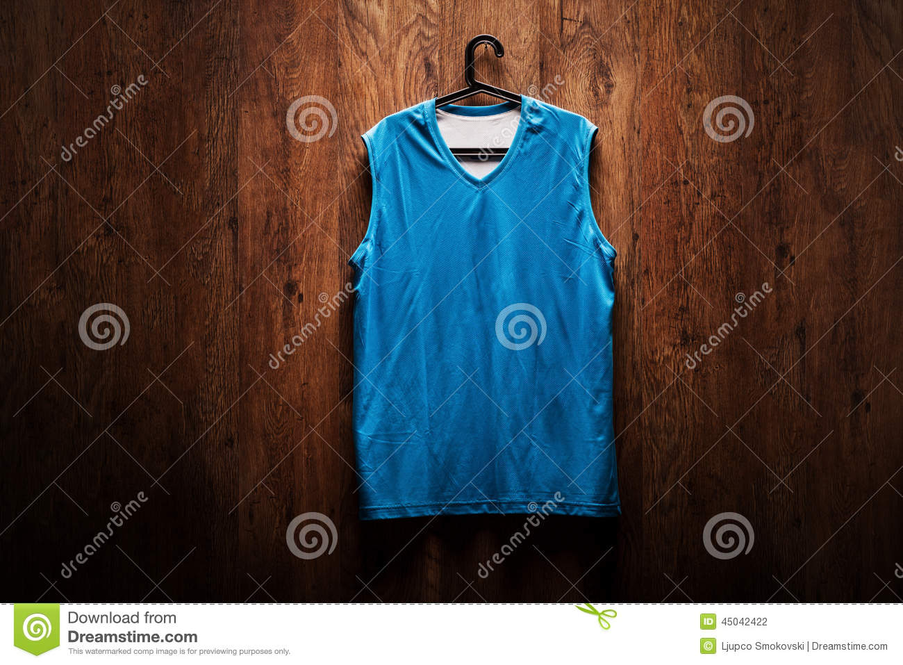 blue basketball jersey hanging on a wooden wall stock photo image of shirt locker 45042422. Black Bedroom Furniture Sets. Home Design Ideas