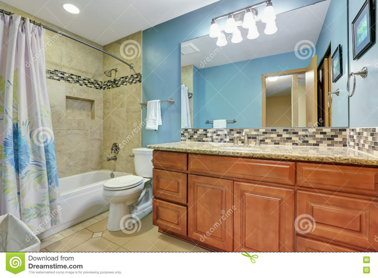Blue Bathroom Interior With Mosaic Back Splash Stock Image - Image ...