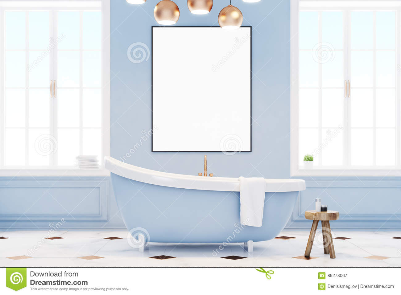 Blue Bathroom Interior With Poster Stock Illustration - Illustration ...