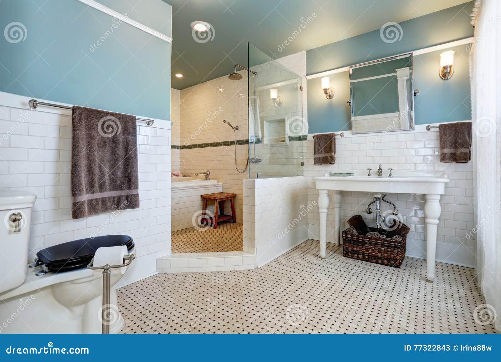 Blue Bathroom Interior With White Tile Trim Wall White