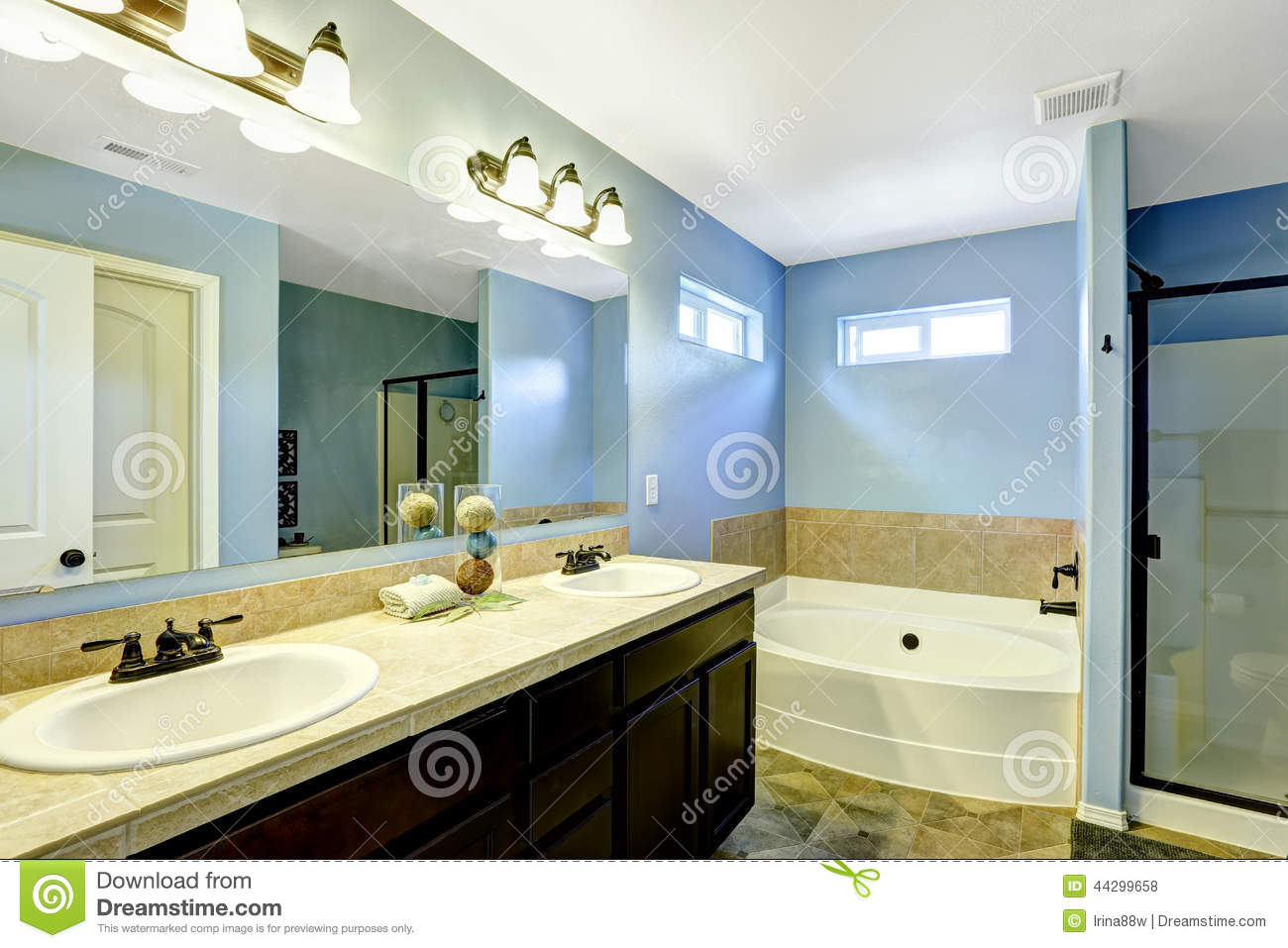 Blue Bathroom With Tile Trim Stock Photo - Image of house, style ...