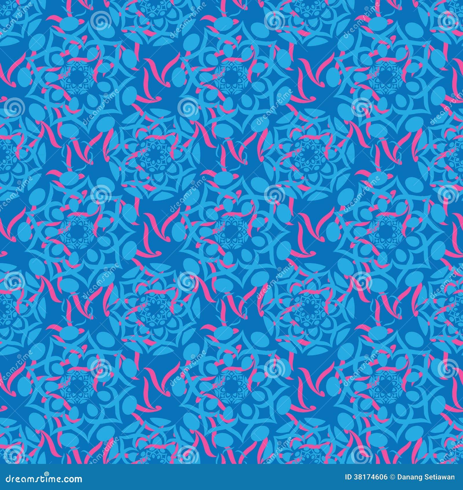 Blue Batik Ornament Stock Vector. Illustration Of Pattern