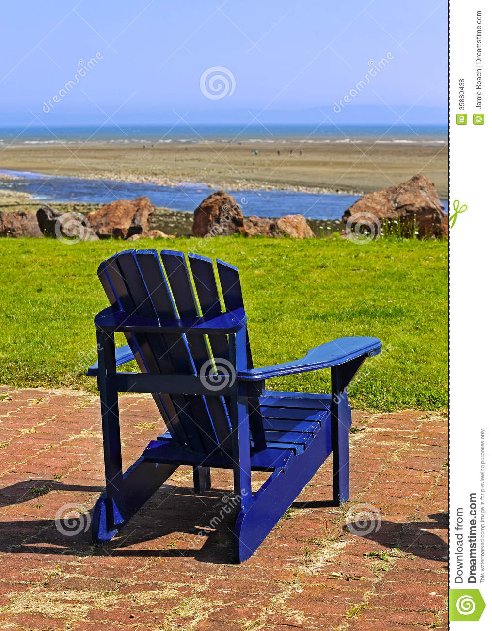 Adirondack Beach Chair Clip Art Blue beach chair summer scene