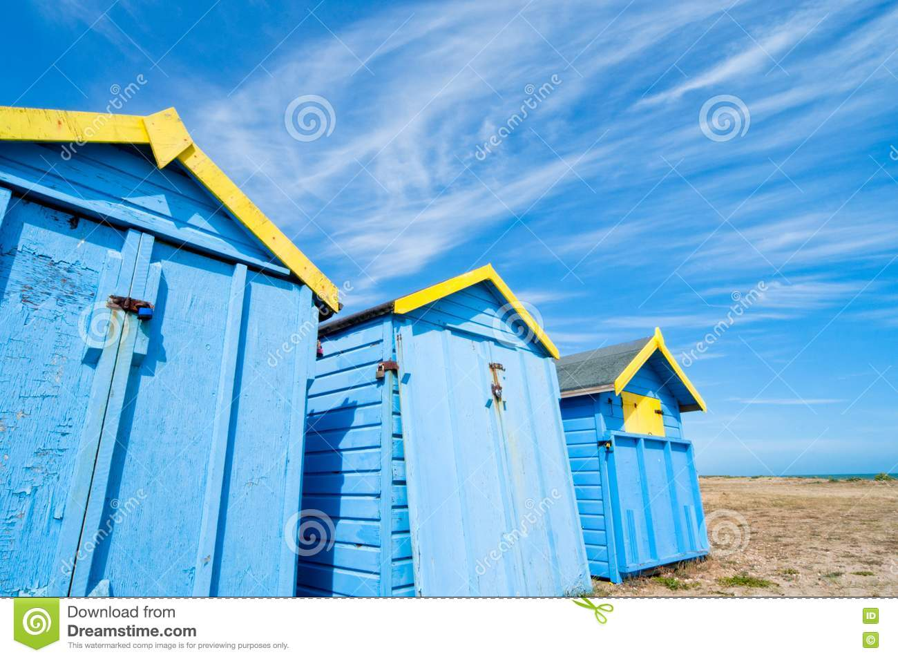 Summer Hut Designs : Blue Beach Huts In Summer Royalty Free Stock Photo - Image: 20076375