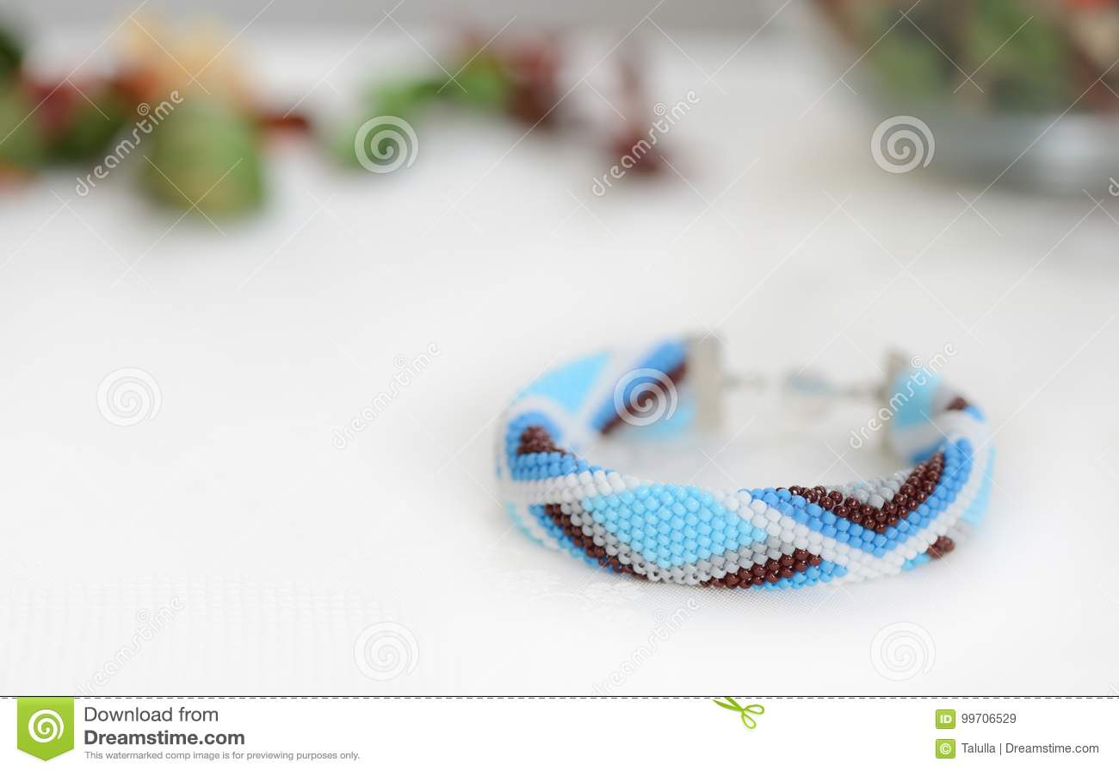 Blue Bead Crochet Bracelet With Geometrical Pattern Stock Image ...