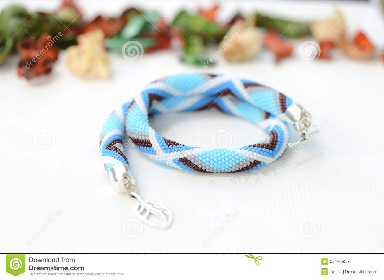 Blue Beaded Necklace With Geometrical Pattern Stock Image Image Of