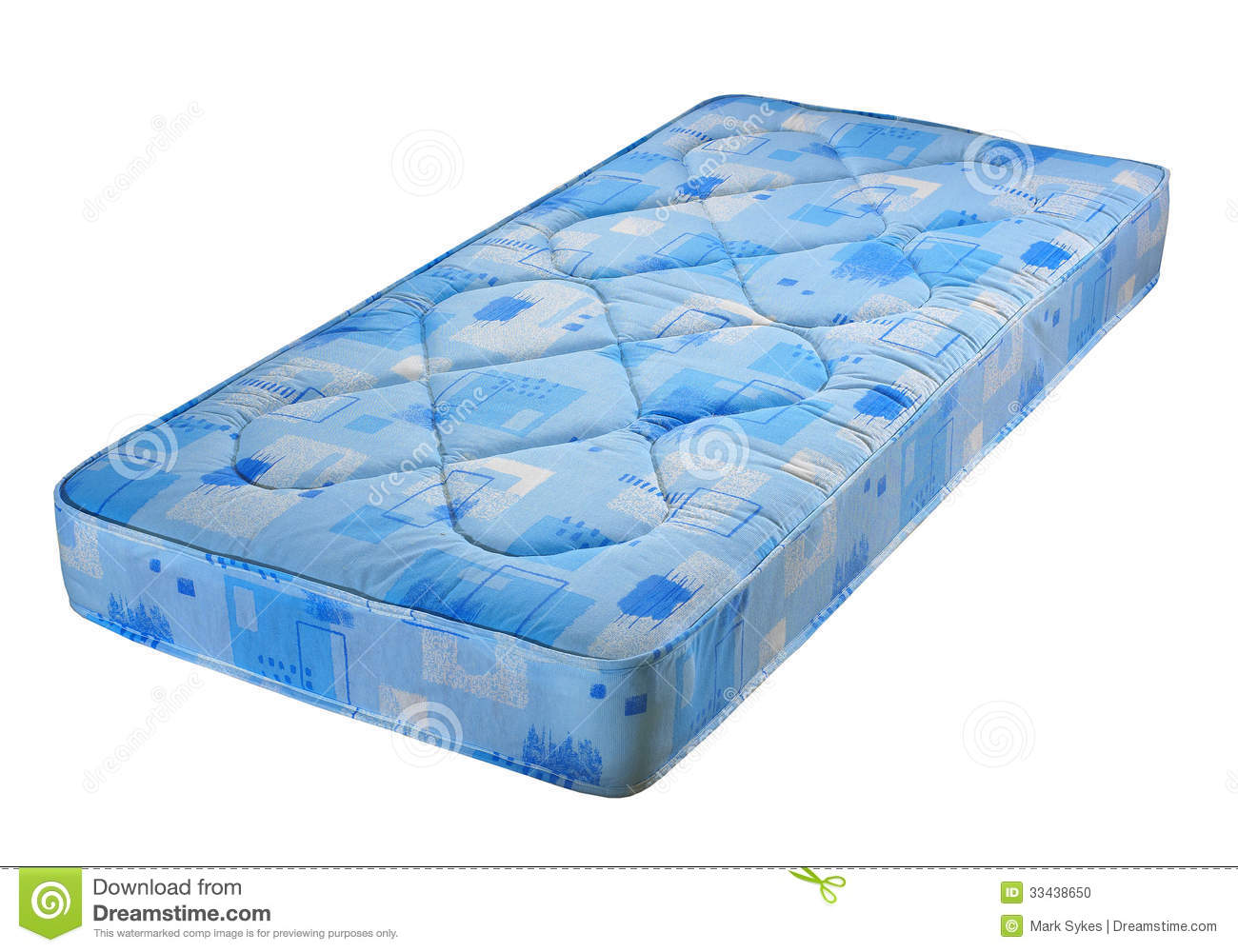 Blue Bed Mattress Stock Image