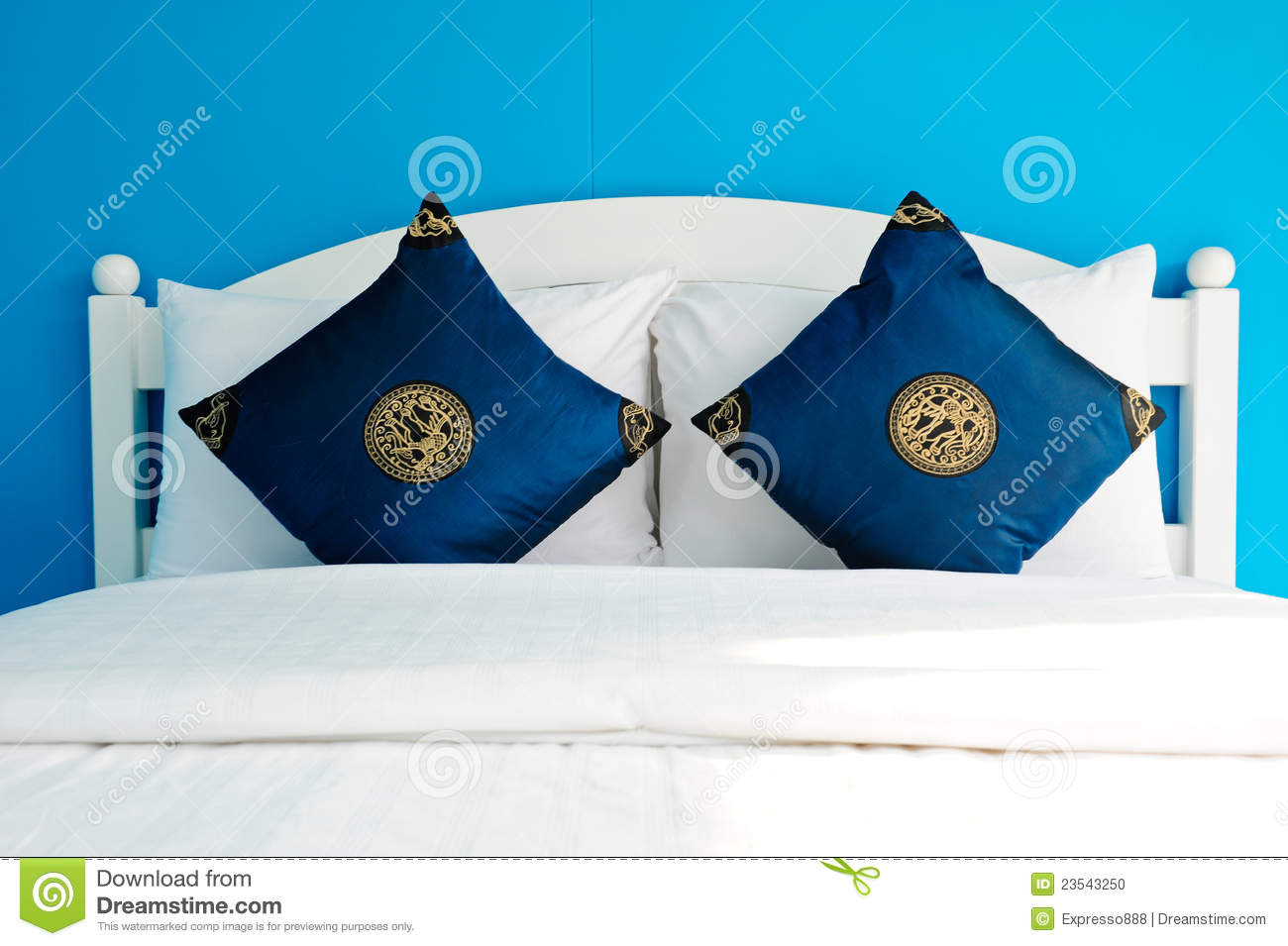 Blue bedroom in a modern house stock photo image 23543250 for Blue modern house