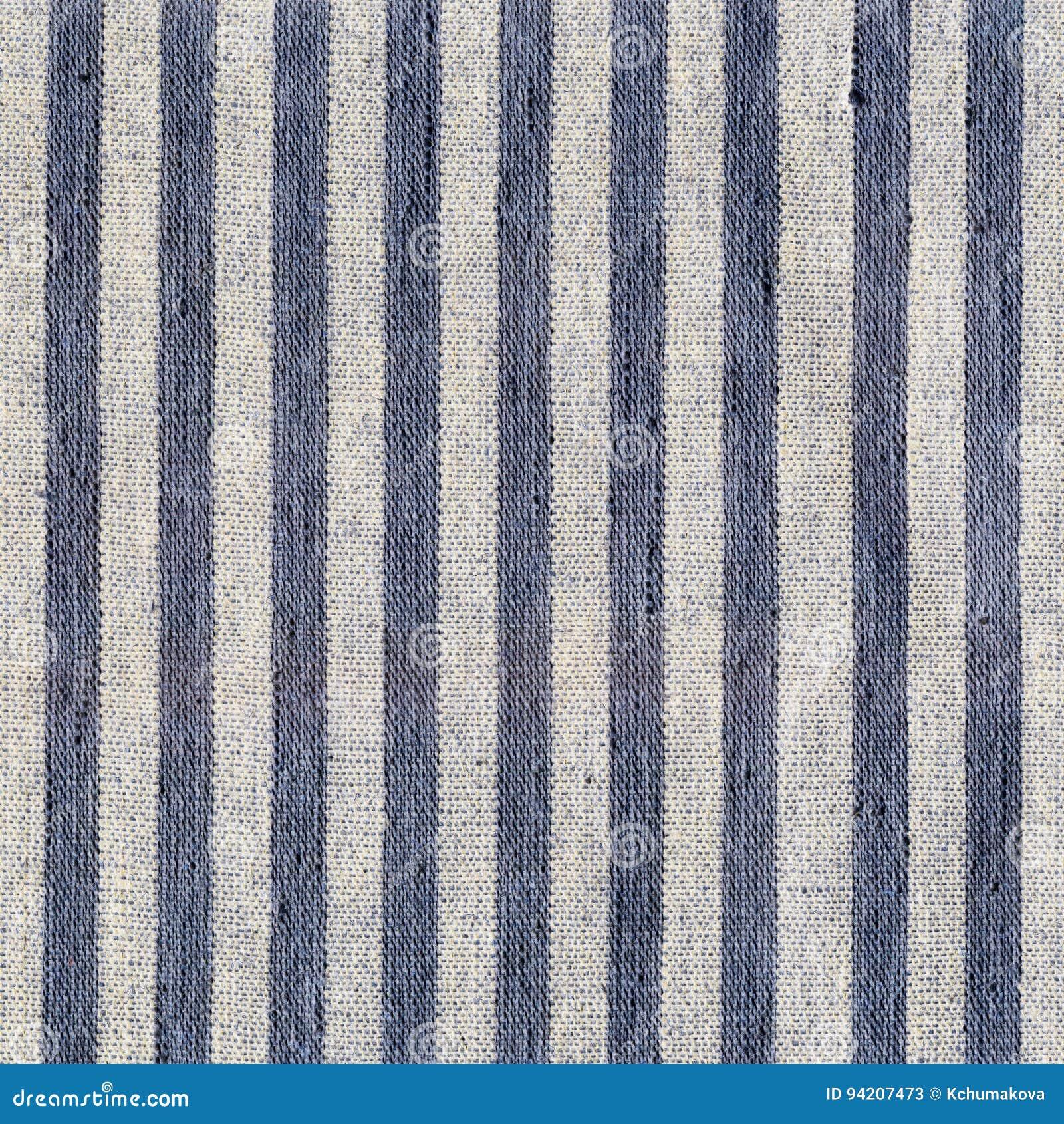 Blue, beige, gray stripe pattern on linen fabric