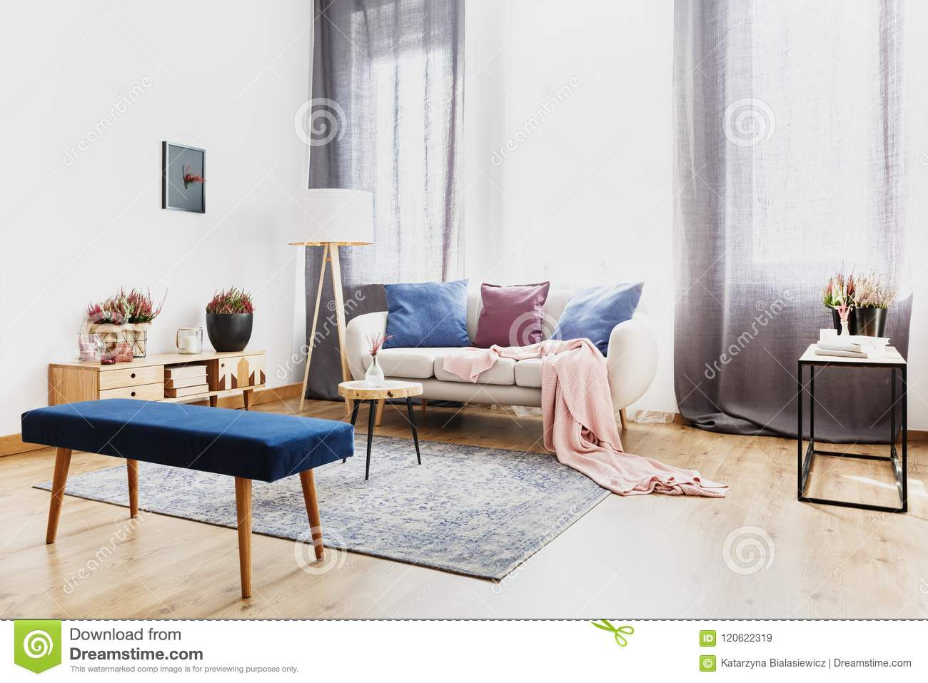 Blue Bench In Living Room