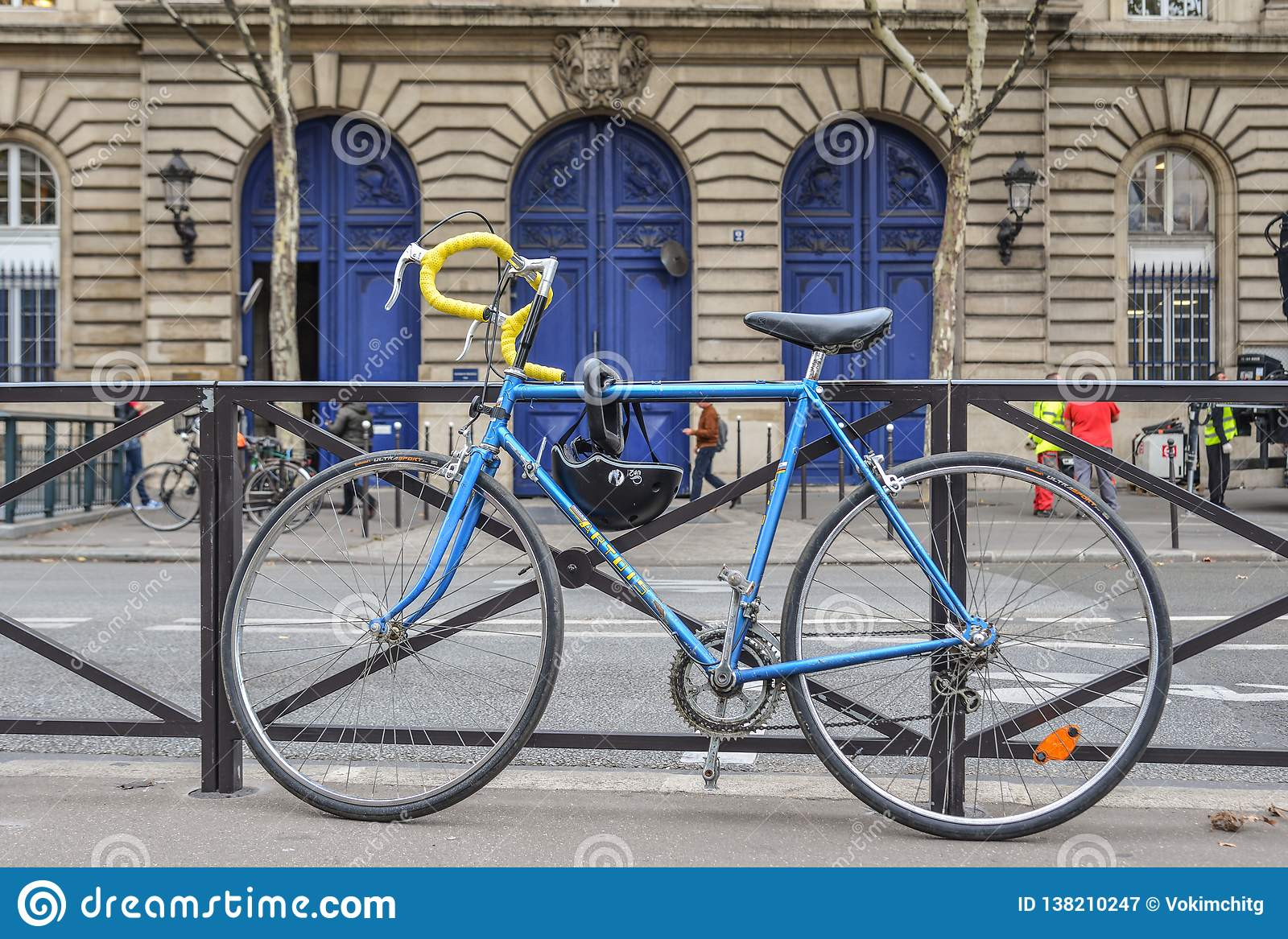 A blue bicycle at downtown in Paris, France