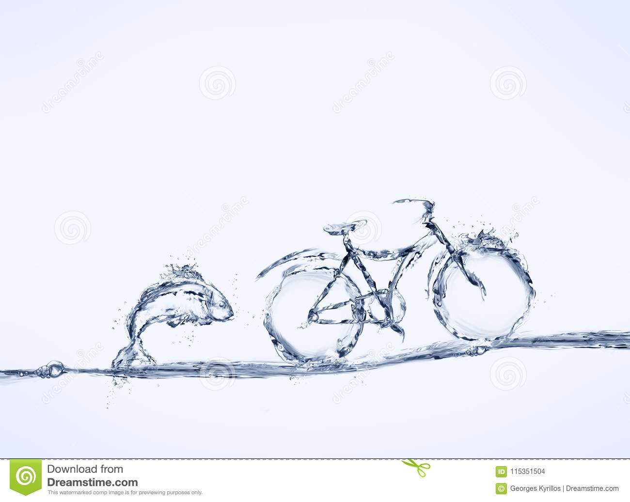 Blue Water Bicycle and Fish