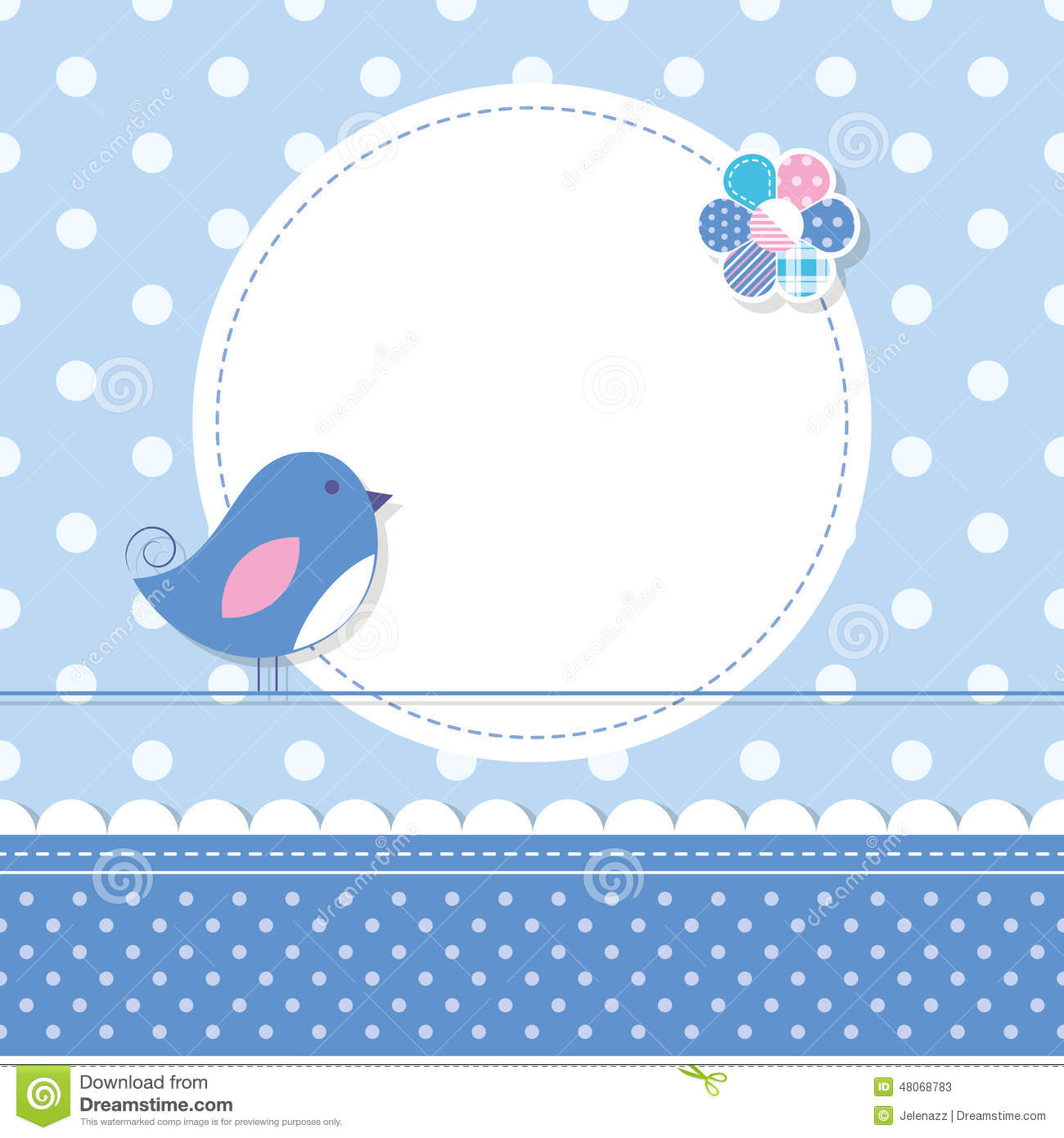 ... flower, round label and ribbon on blue polka dot pattern background