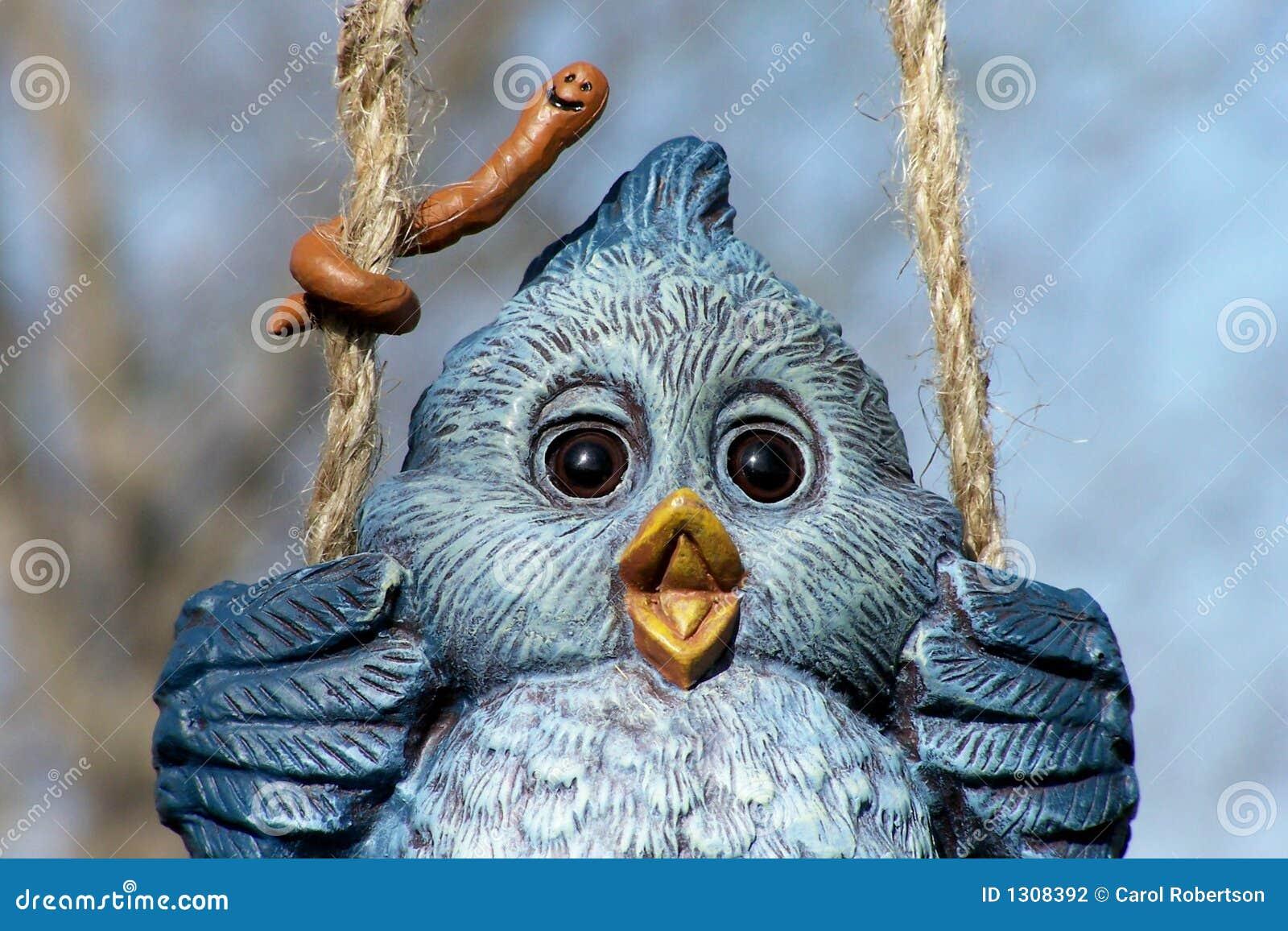 Blue Bird w/worm