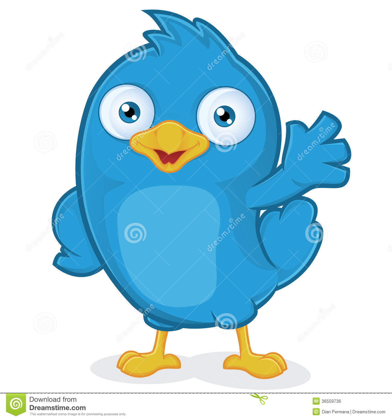 Cartoon blue bird on branch blue bird waving royalty free