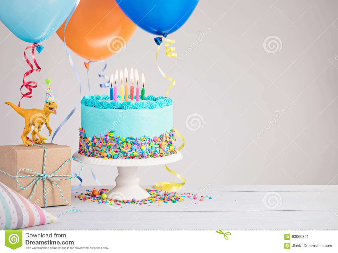 Blue Birthday Cake With Balloons