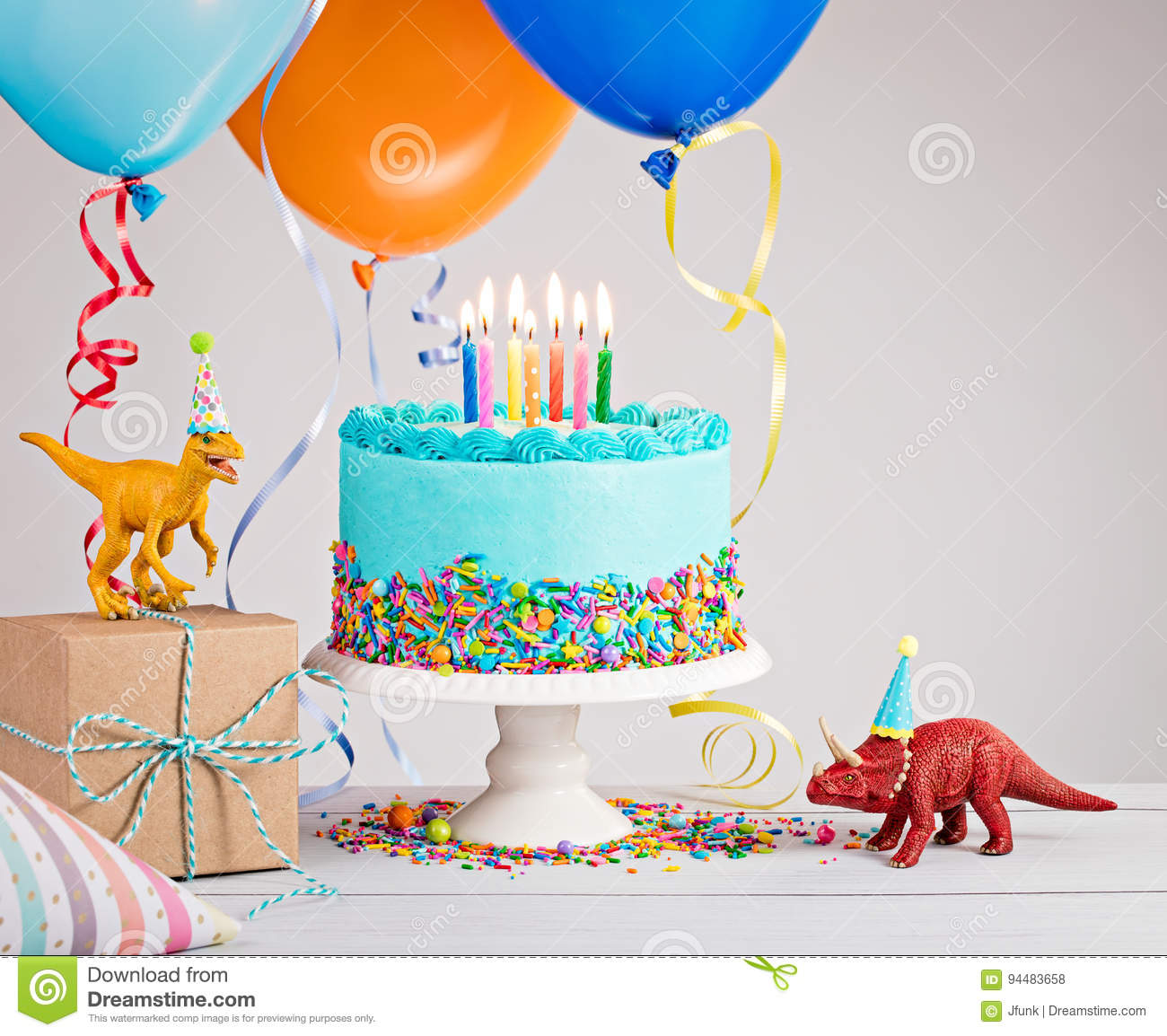 Strange Blue Birthday Cake With Balloons Stock Photo Image Of Personalised Birthday Cards Veneteletsinfo