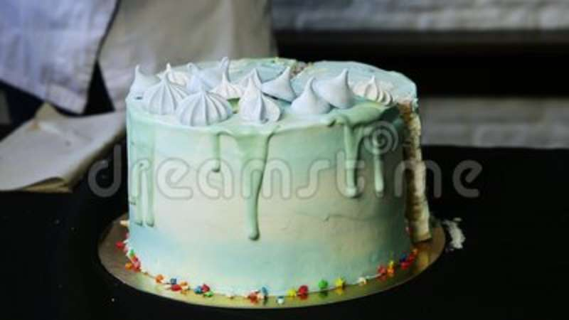 Blue Birthday Cake Decorated On Sky Theme Stock Video Video Of