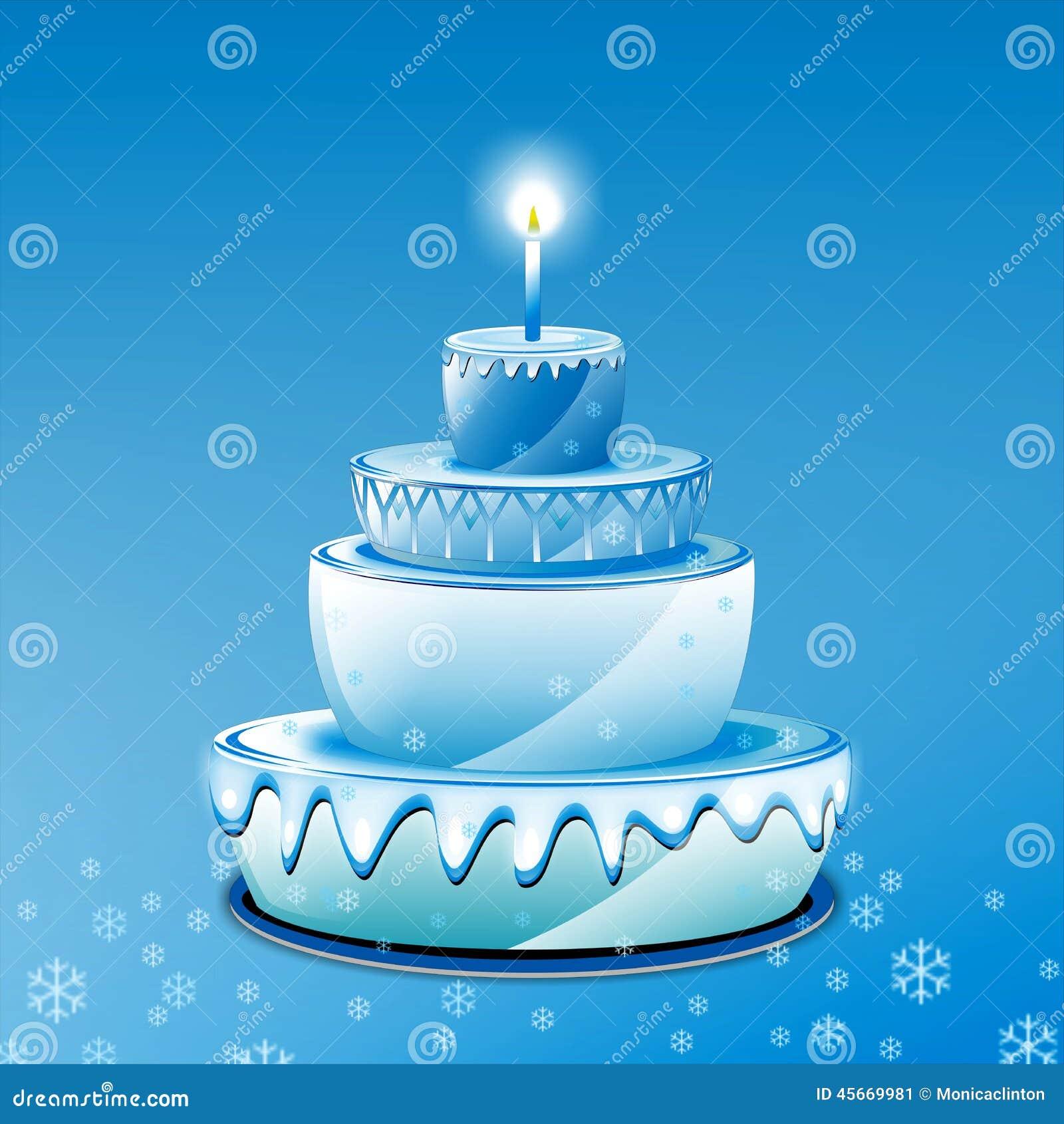 Blue Birthday Cake Stock Illustration Illustration Of Candles