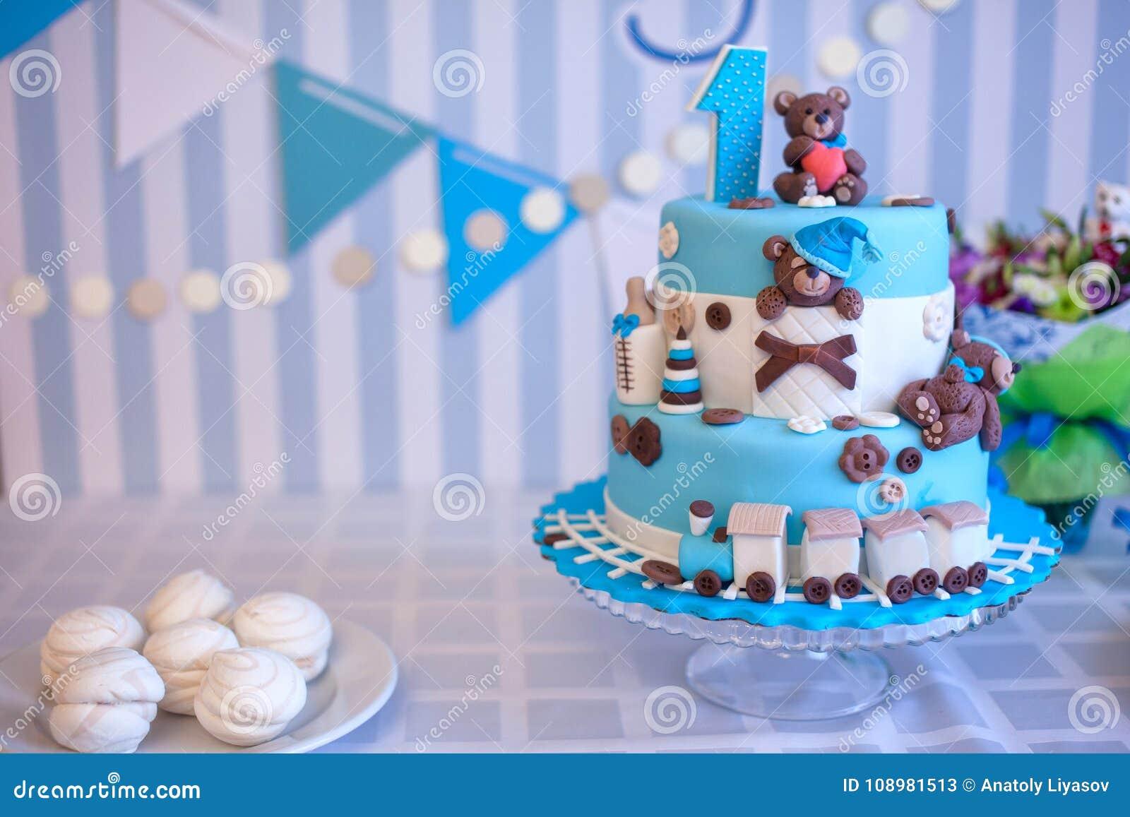 Cake For Birthday Celebration One Year Stock Image Image Of