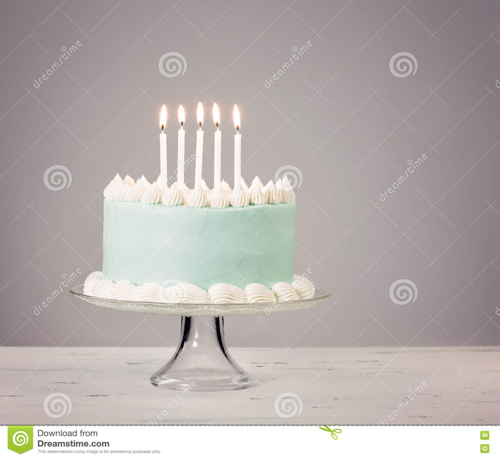 Blue Birthday Cake Over Grey Background Stock Image Image Of