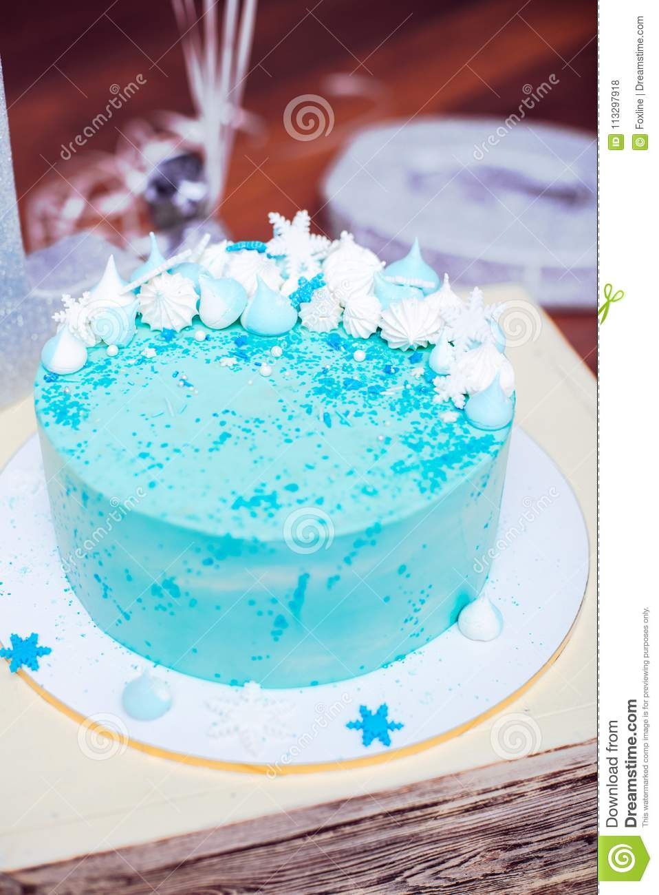 Miraculous Blue Birthday Cake With A Small Meringues Stock Photo Image Of Funny Birthday Cards Online Elaedamsfinfo
