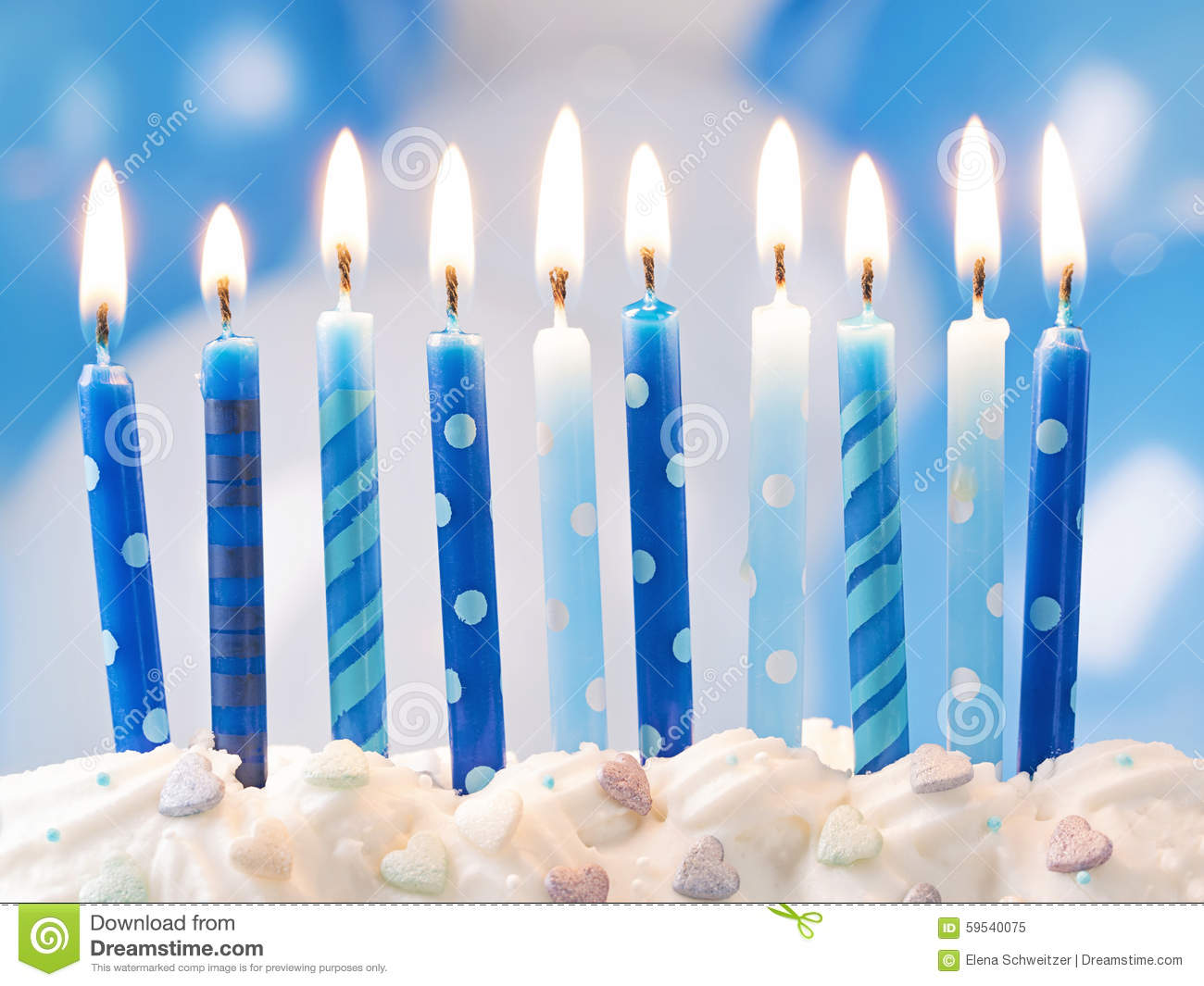 Blue Birthday Candles Stock Photo Image 59540075