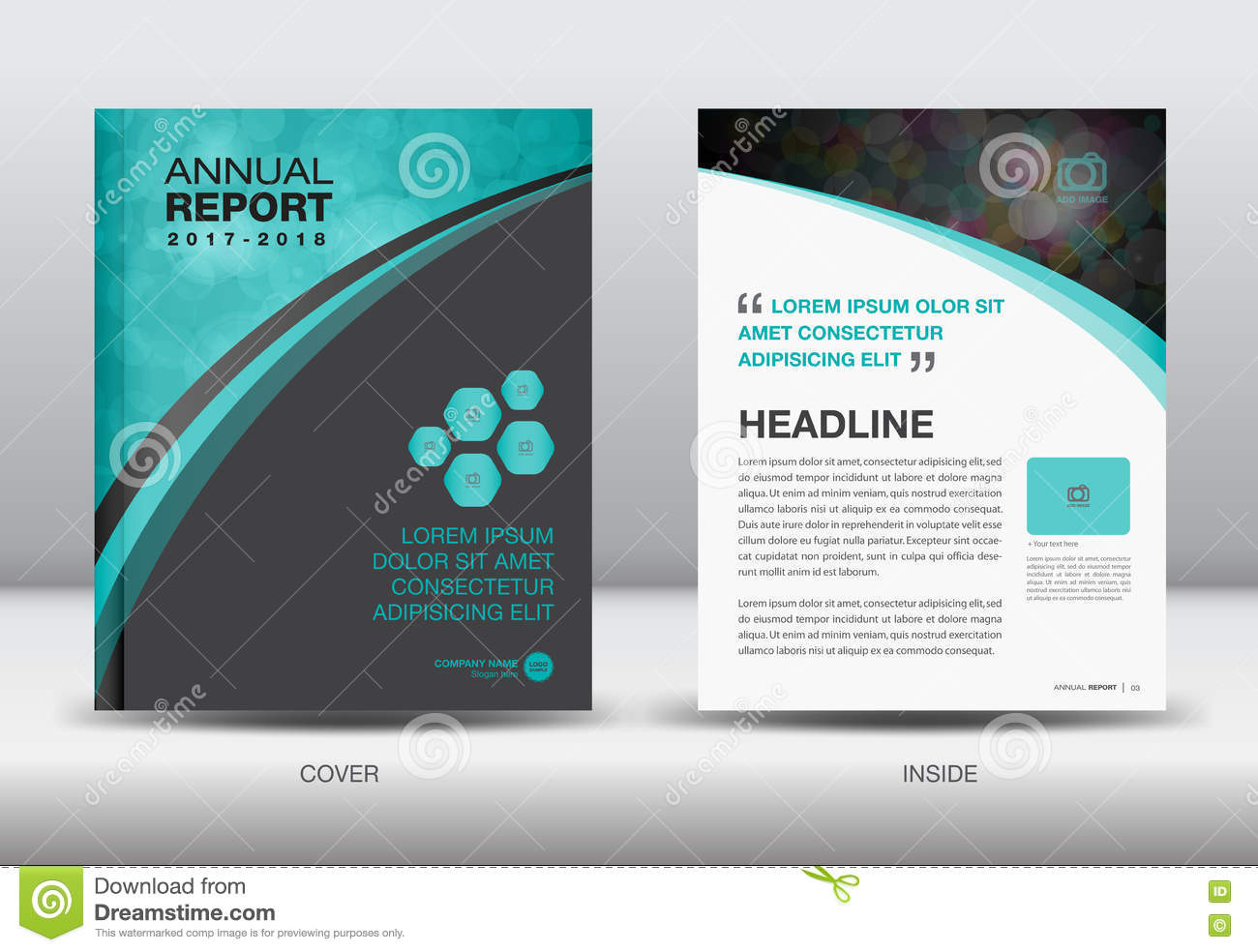 blue and black annual report template cover design vector stock