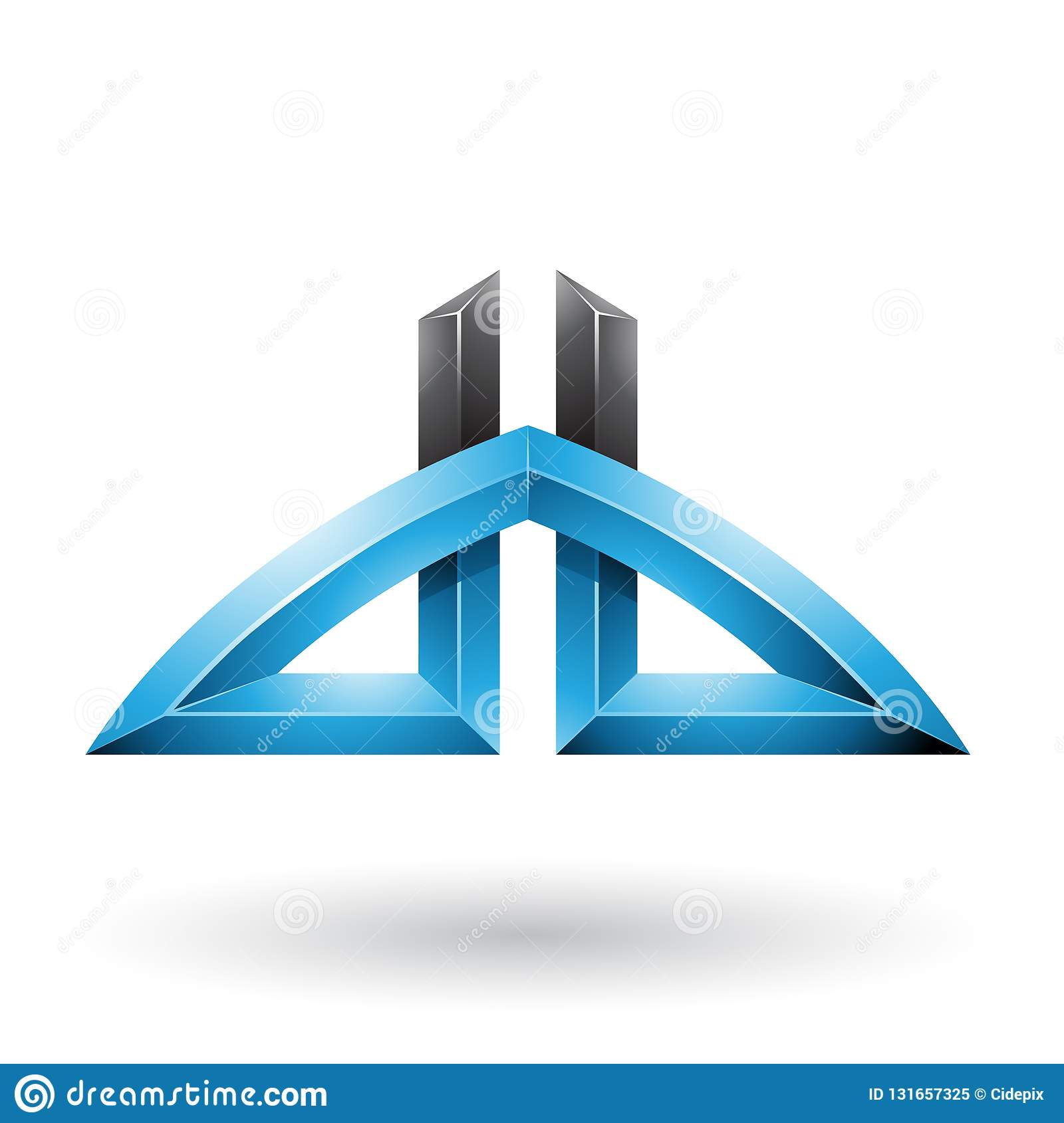 Blue And Black Bridged Letters Of D And B Isolated On A