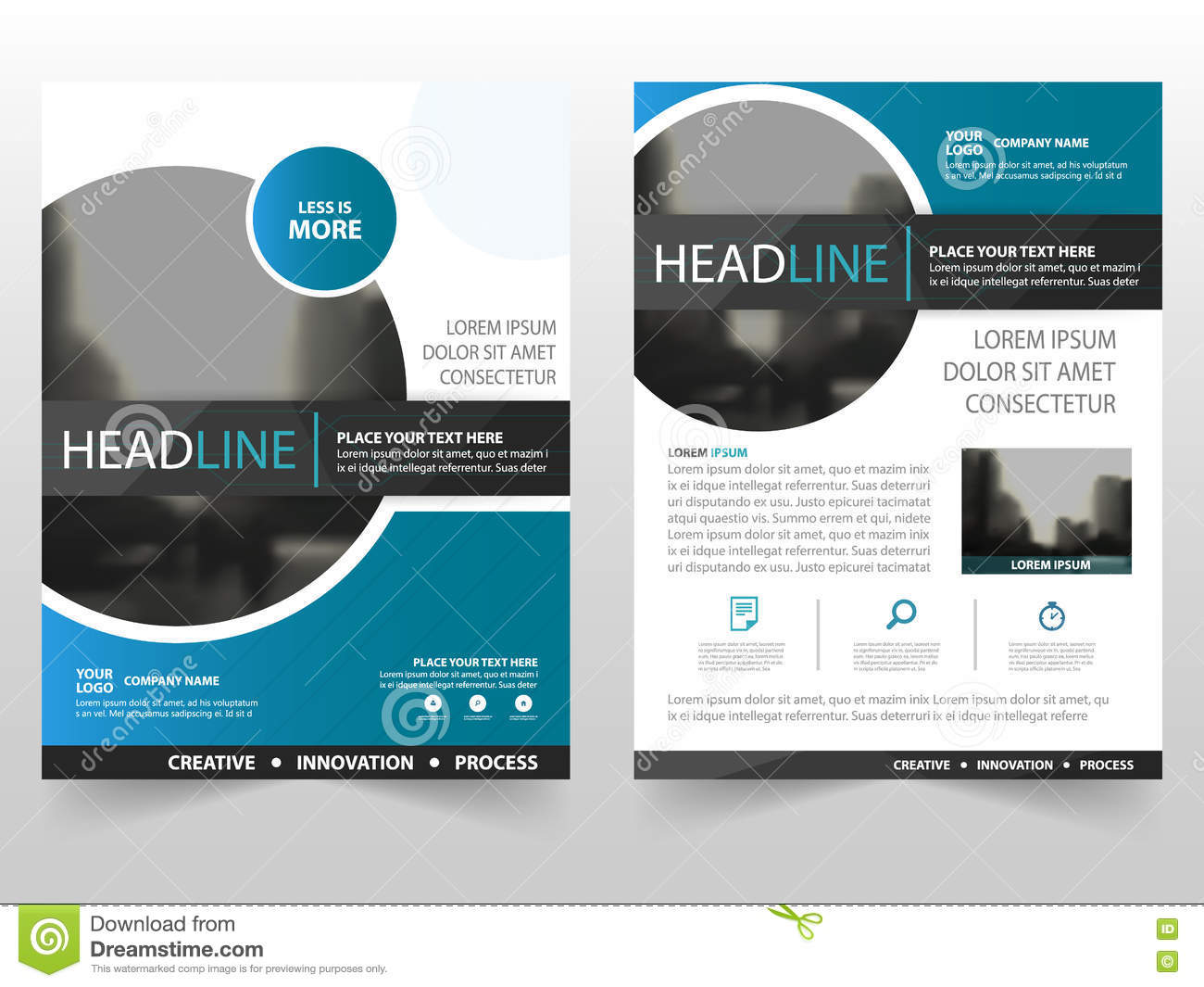 brochure cover design - blue black circle business brochure leaflet flyer annual