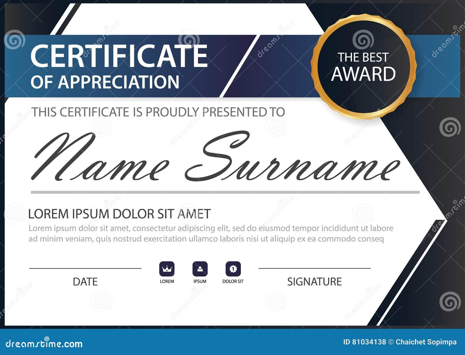 Blue Black Elegance Horizontal Certificate With Vector Illustration ...