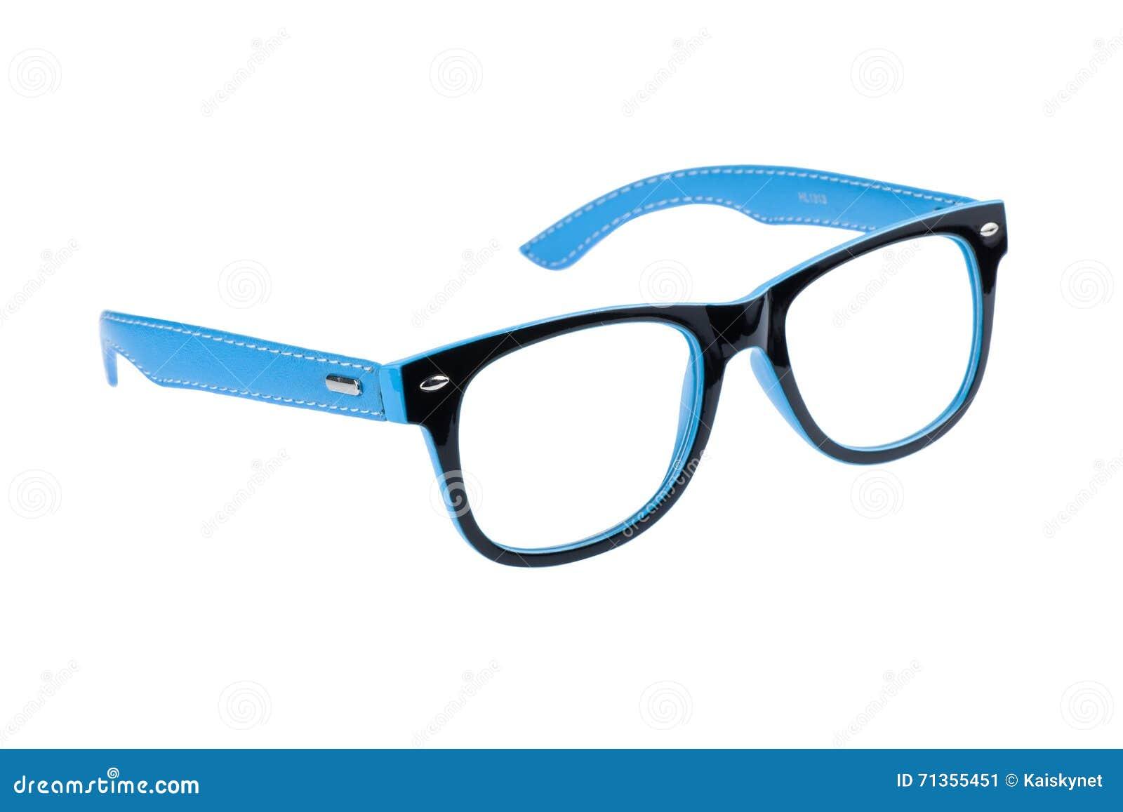 Blue And Black Frame Of Eye Glasses Isolated On White