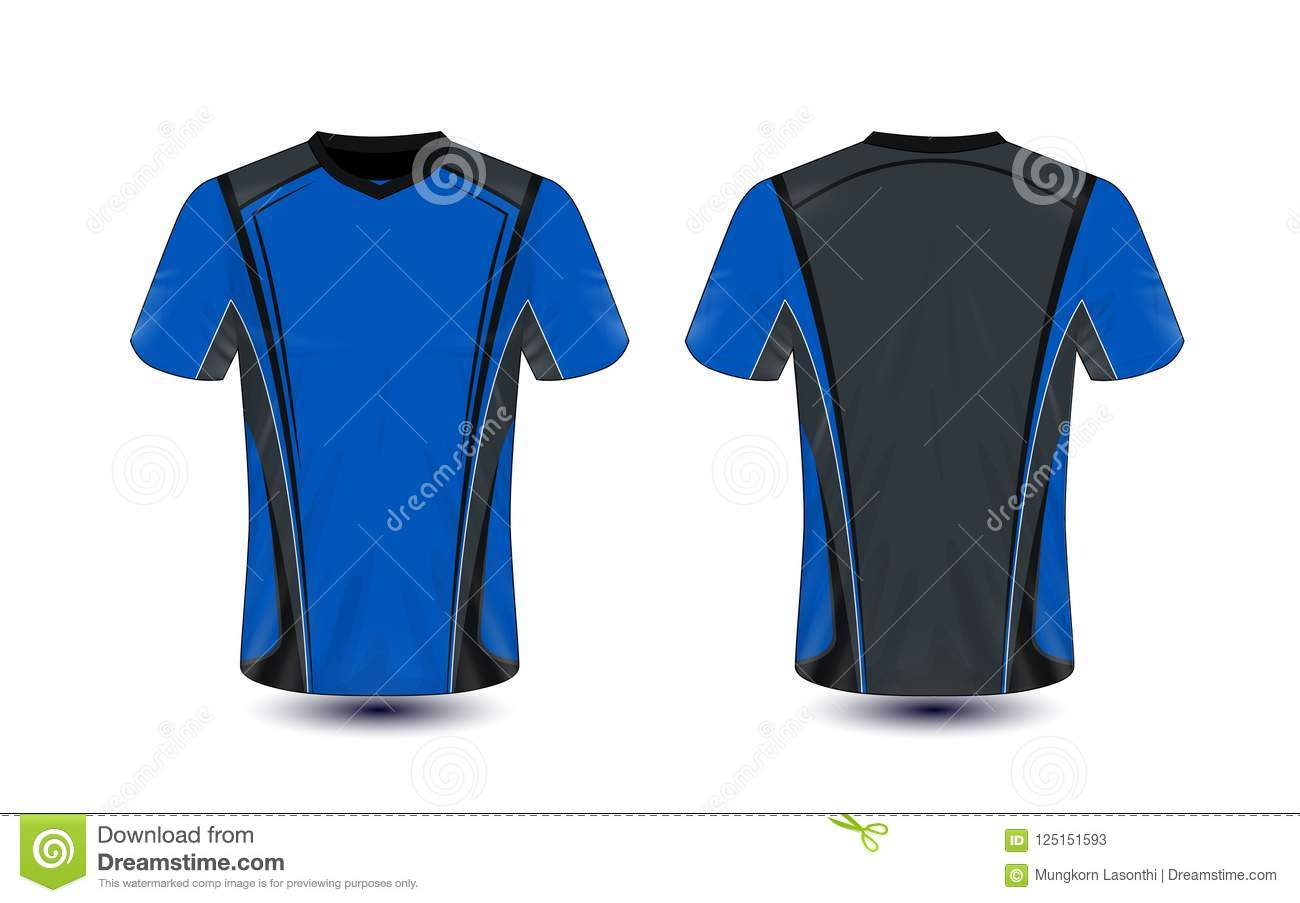 Blue And Black Layout E Sport T Shirt Design Template Stock Vector