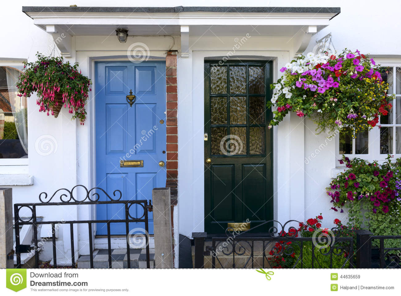 Blue and black terrace doors henley on thames stock photo for Terrace house opening new doors