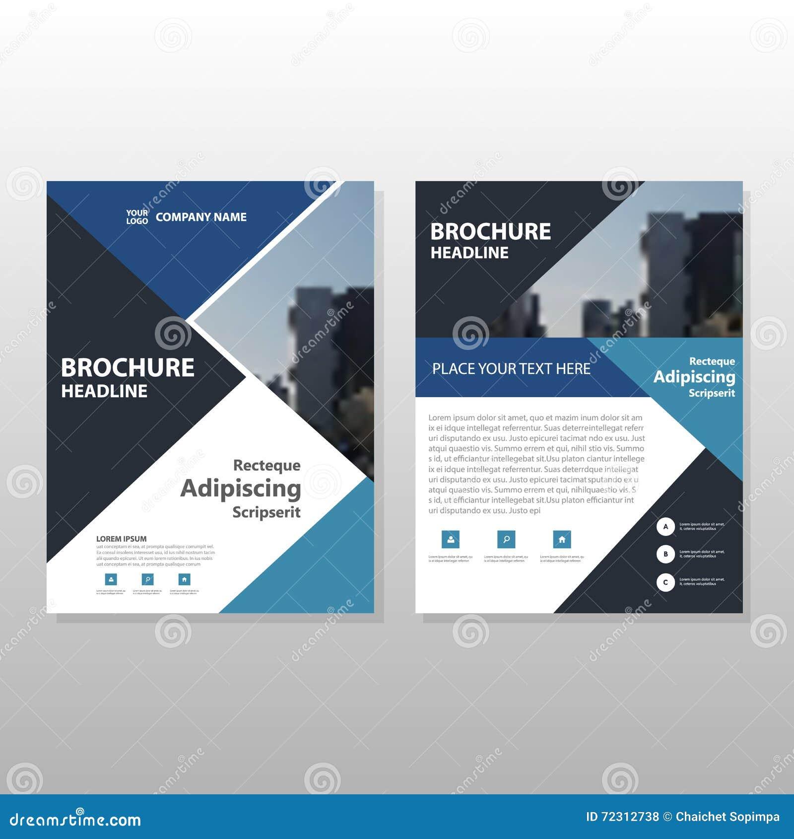 Blue Annual Report Brochure Design Vector Template For: Blue Black Triangle Vector Annual Report Leaflet Brochure