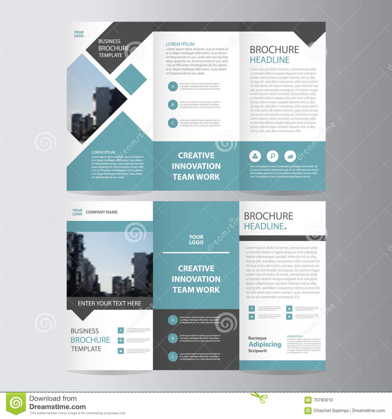 brochure presentation template - blue black trifold leaflet brochure flyer template design