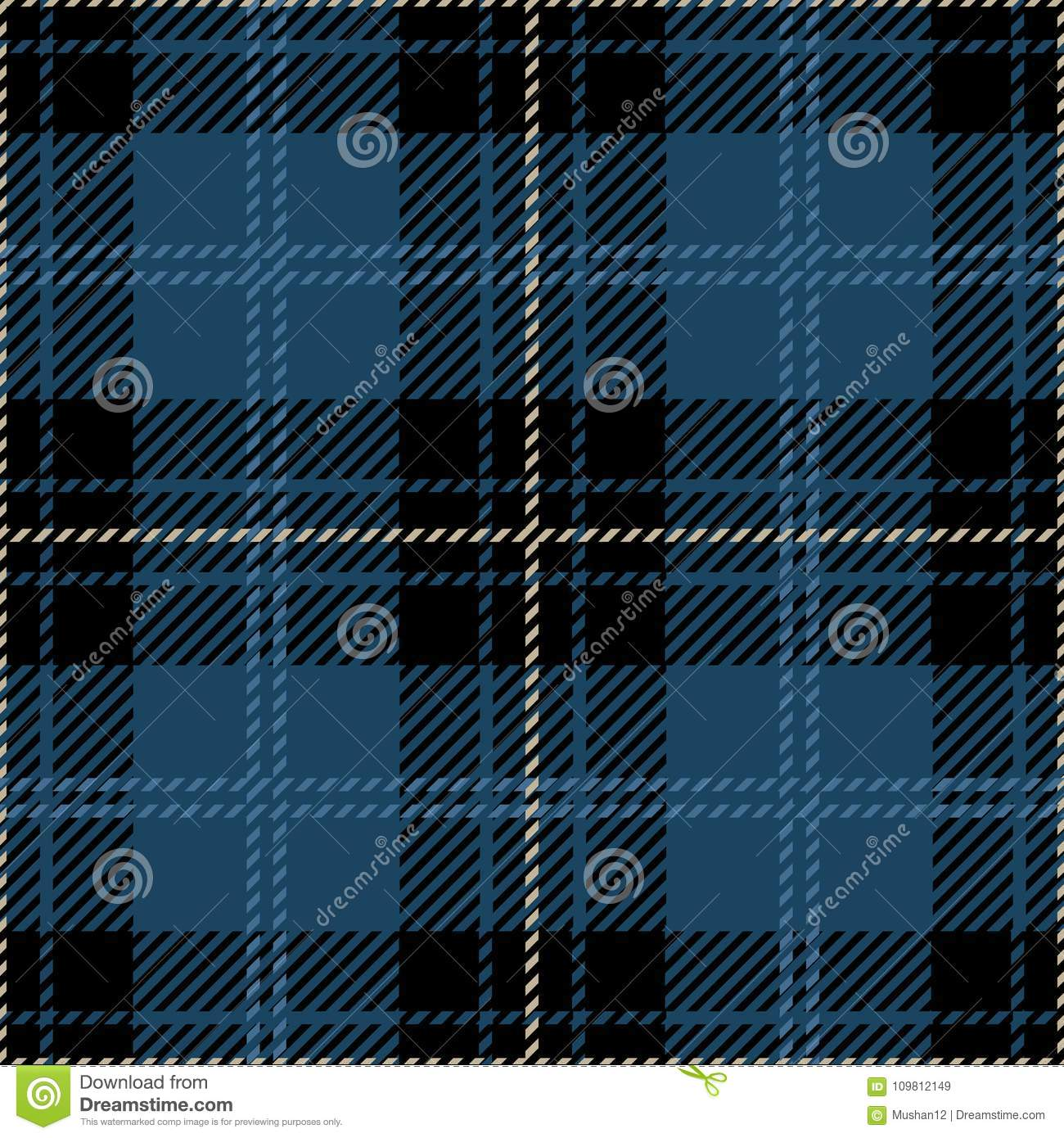 Blue And Black Tartan Plaid Seamless Scottish Pattern Stock Vector