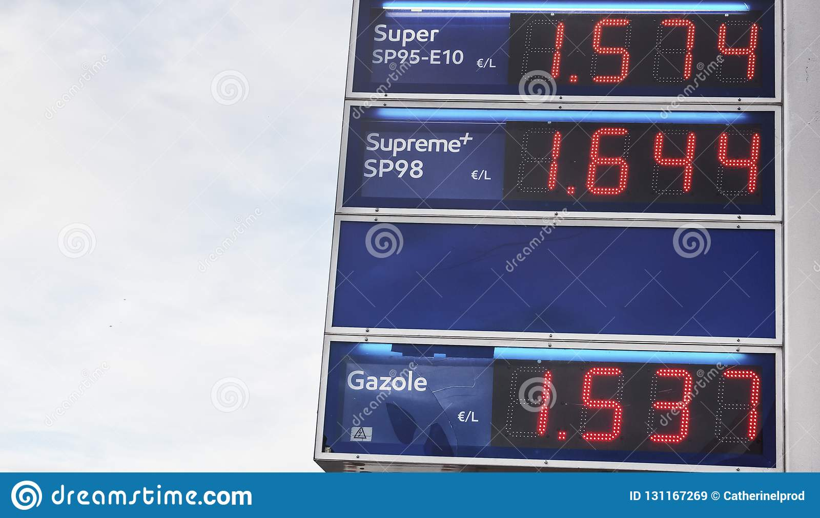 Blue board with price of gasoline petrol, written in red. Close up
