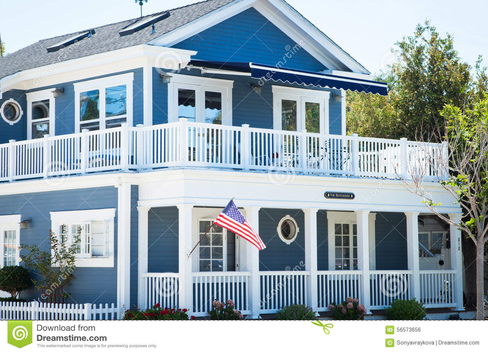 Blue Boat House - Coronado, San Diego USA Stock Photo - Image: 56573656