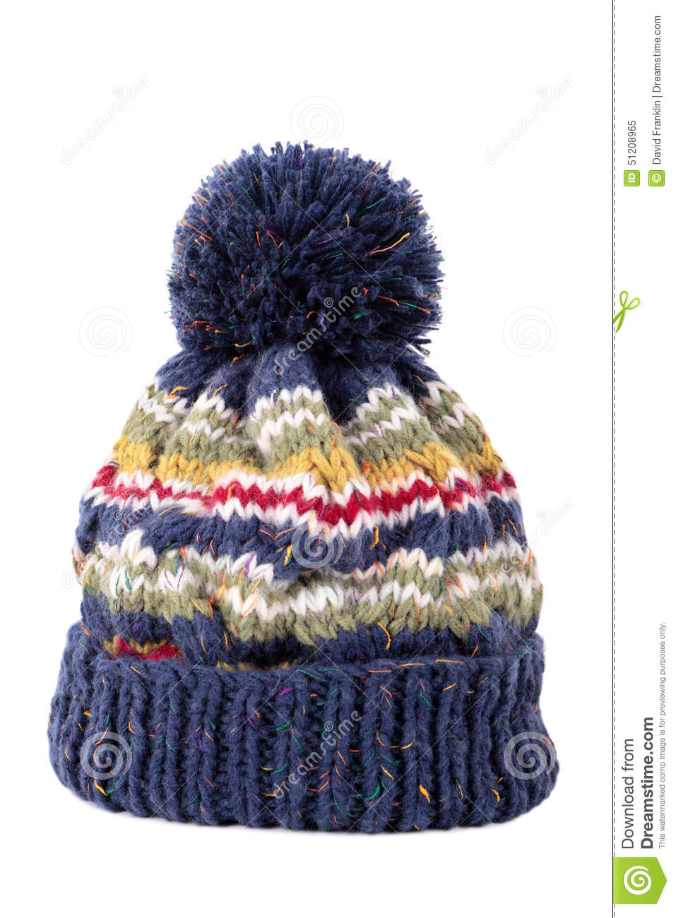 385c2bcebff Blue Winter Knit Hat Isolated On White Background Stock Image ...