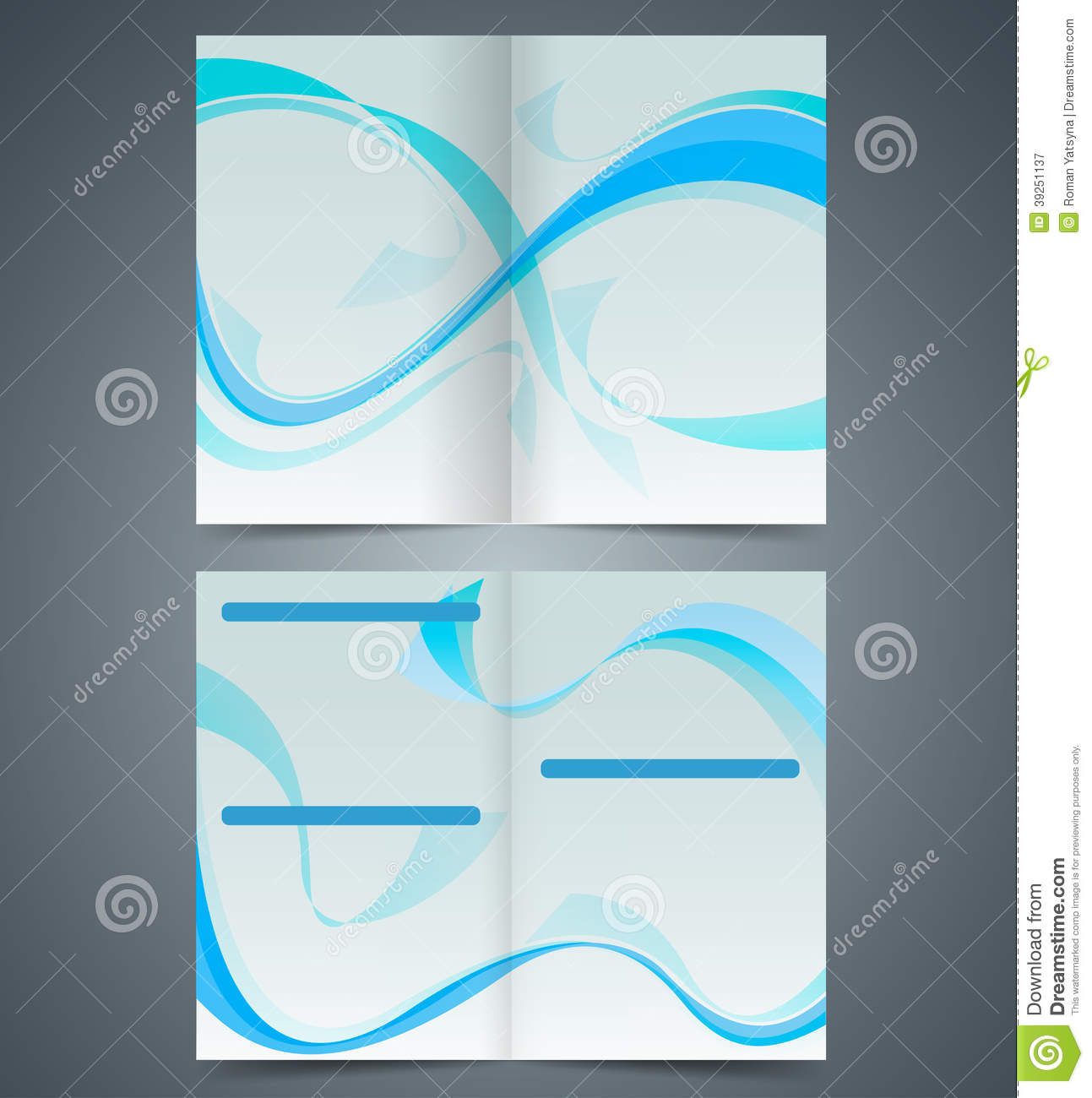 blue booklet template design with waves stock vector illustration