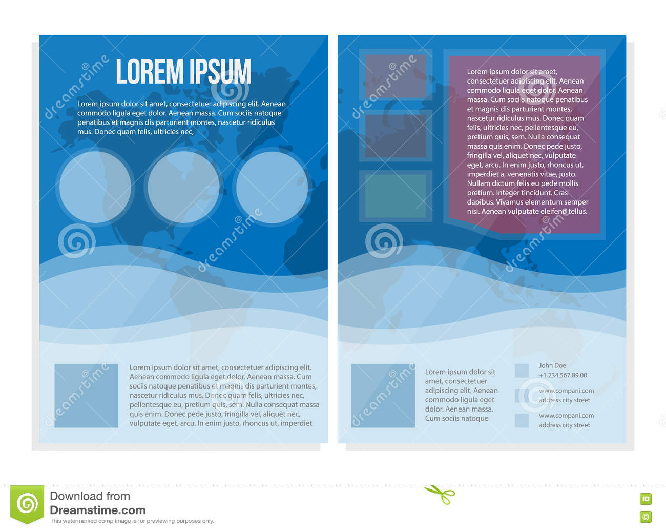 Informational Flyer Template   Blue Booklet A4 Universal Bright Informational Flyer Stock Vector