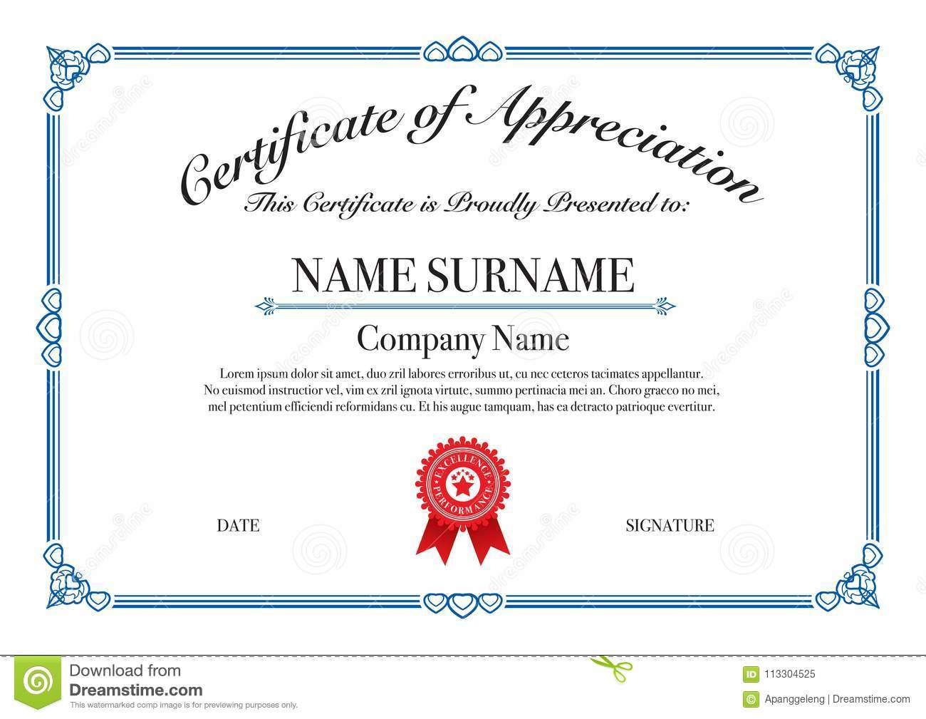 Blue border certificate of appreciation for excellence performance royalty free vector download blue border certificate of appreciation for excellence performance stock yelopaper Image collections