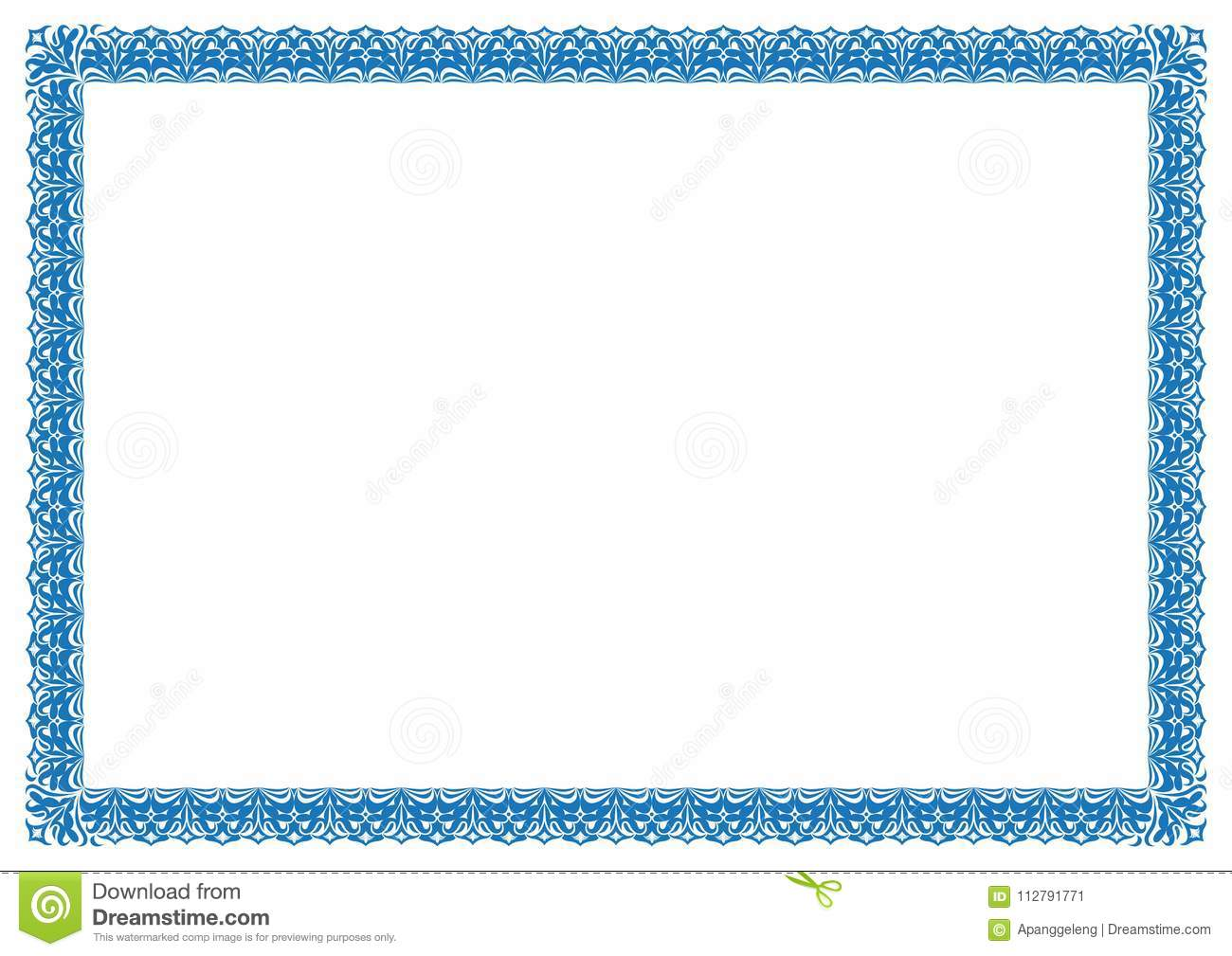 blue border for certificate or page book border frame stock vector
