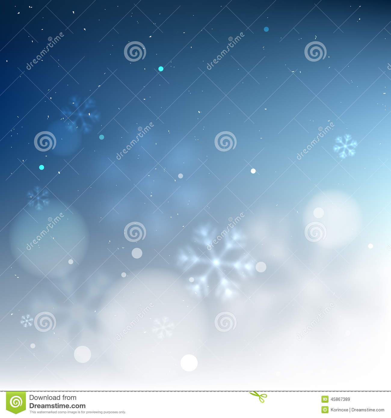 Blue bottom border snowy blurred background template for invitation ...